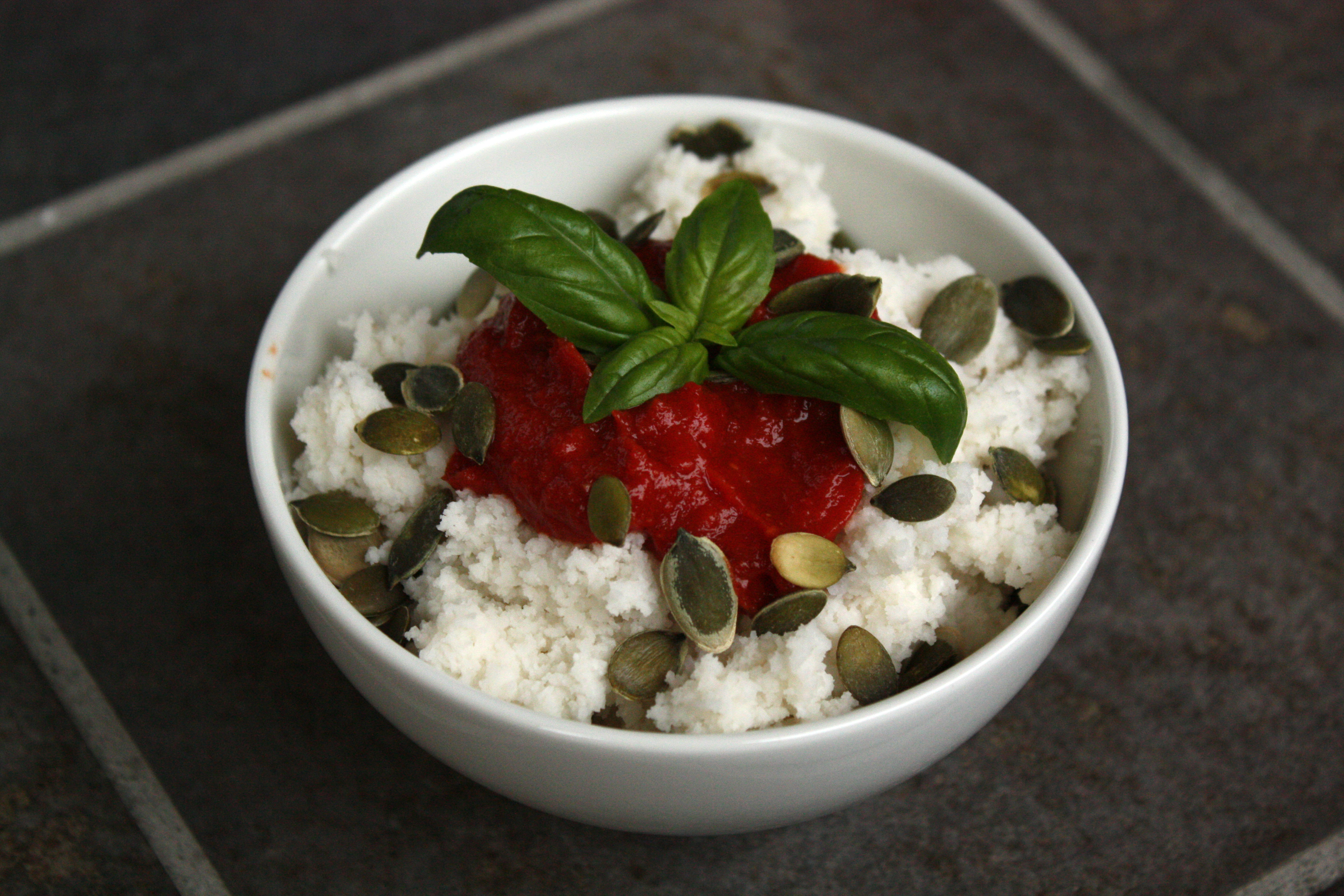 Savory Cottage Cheese With Homemade Hot Sauce, Pumpkin Seeds And Fresh  Basil.